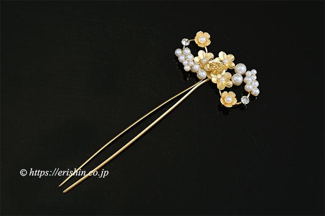 パール風かんざし(小花アンティーク/ゴールド)