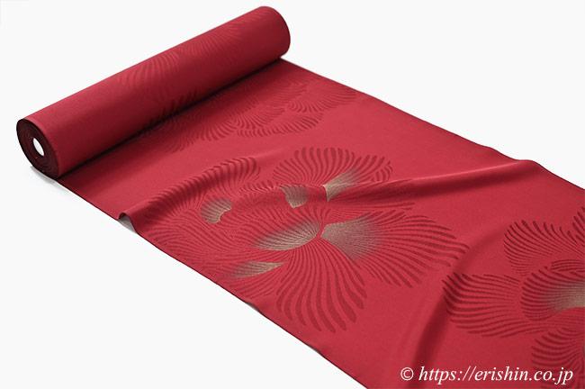 小紋(金泥牡丹/濃紅色) えり新謹製