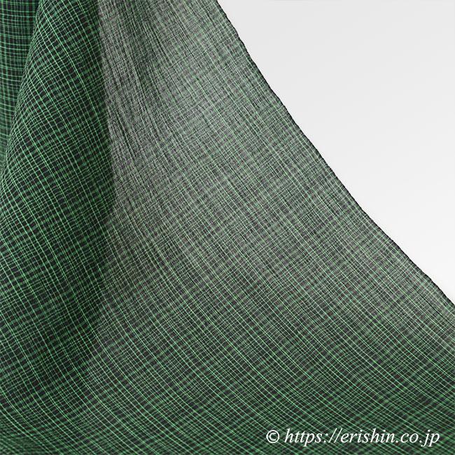 小千谷縮(よろけ格子/縹色×黒)広巾