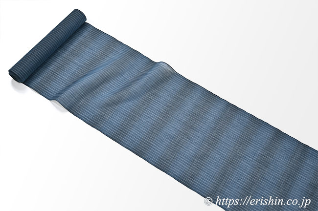 小千谷縮(段暈し&ストライプ/御召御納戸×褐返)広巾