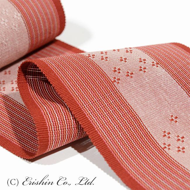 首里半幅帯(手織り・花倉織り)部分拡大