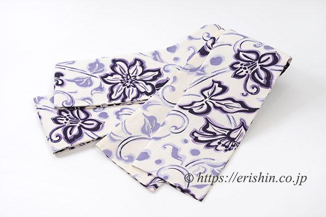 麻半幅帯(クレマチス) 紫織庵