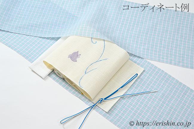 麻八寸織名古屋帯(波千鳥)と小千谷縮みとのコーディネート