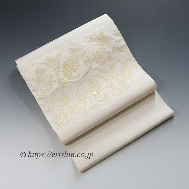 九寸織名古屋帯(葡萄唐草文/淡い白茶色)