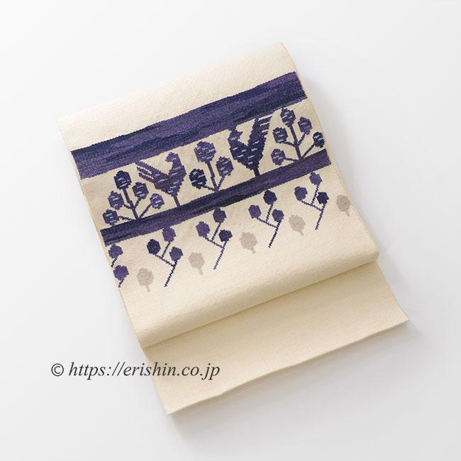 八寸織名古屋帯(立樹文/双鳥)