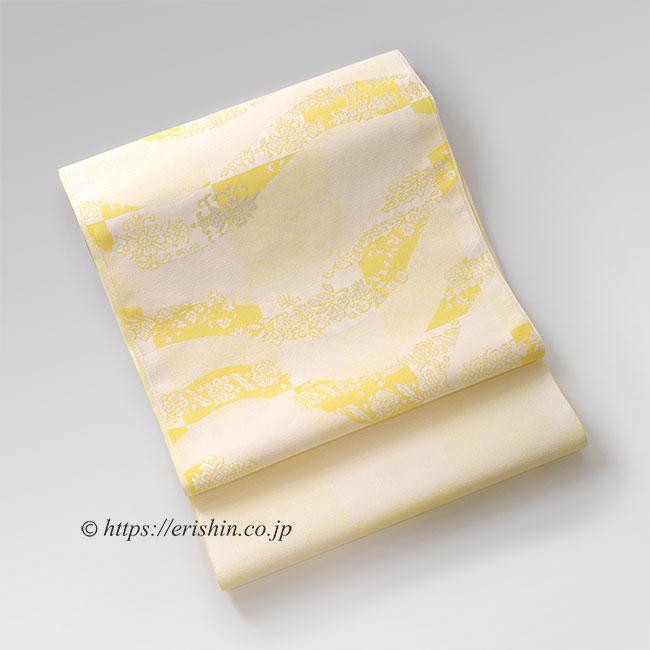九寸織名古屋帯(市松波唐花) 黄色 帯 イエロー