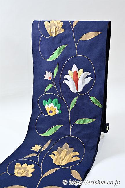 洛風林 九寸織名古屋帯(ボハラ蔓花)柄の部分がふくれ織りとなっています。
