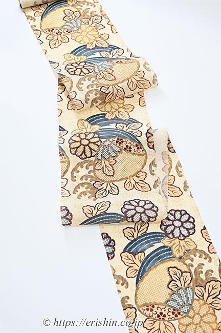 染名古屋帯(徴古貝に菊/生紬) たち花