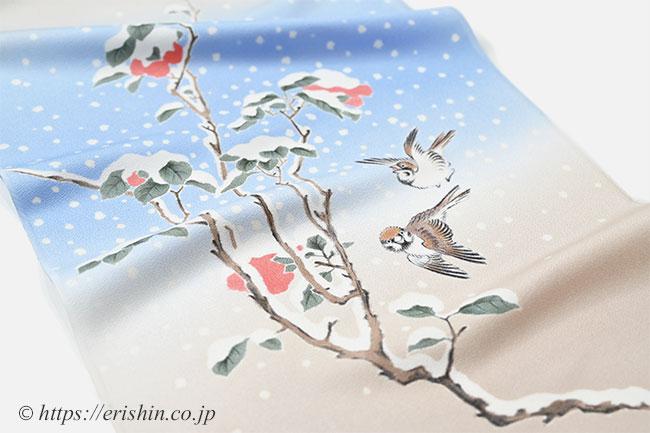 えり新オリジナル染名古屋帯(寒中椿に雀)安藤広重
