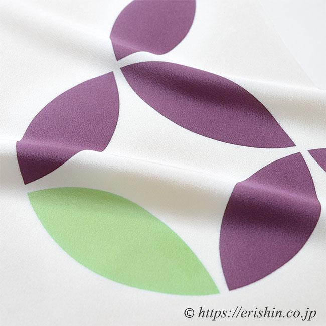 帯揚げ(七宝繋ぎ/古代紫×柳色)