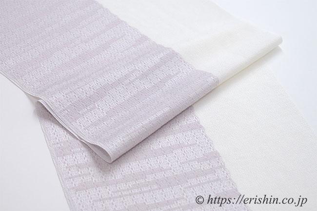帯揚げ:織り分け・紋織と無地/鴇鼠色