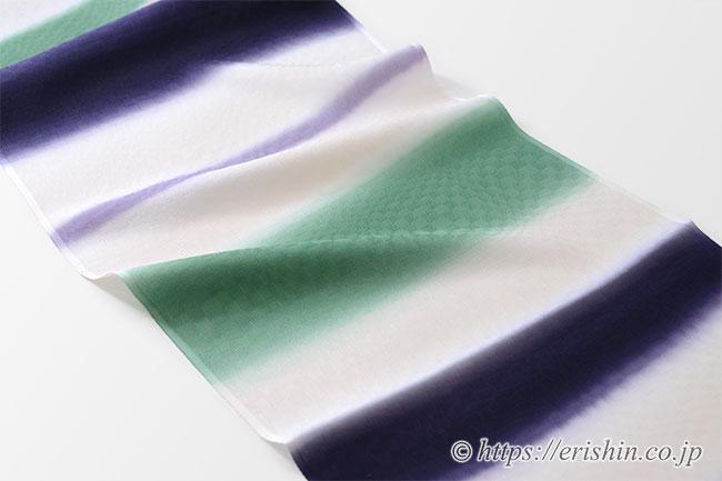 帯揚げ(三色段市松地紋/深紫×若竹色×藤紫)