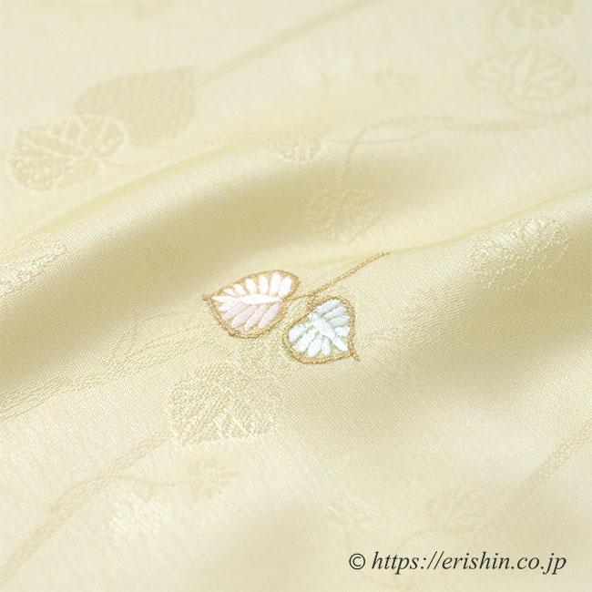 帯揚げ(双葉葵・刺繍/薄淡黄色)