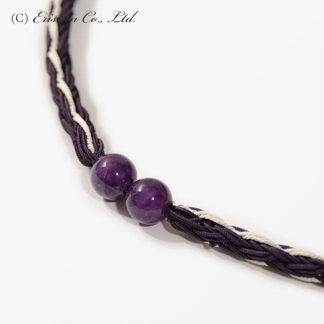 帯締め 飾り玉付レース組(滅紫色) 夏・単衣向