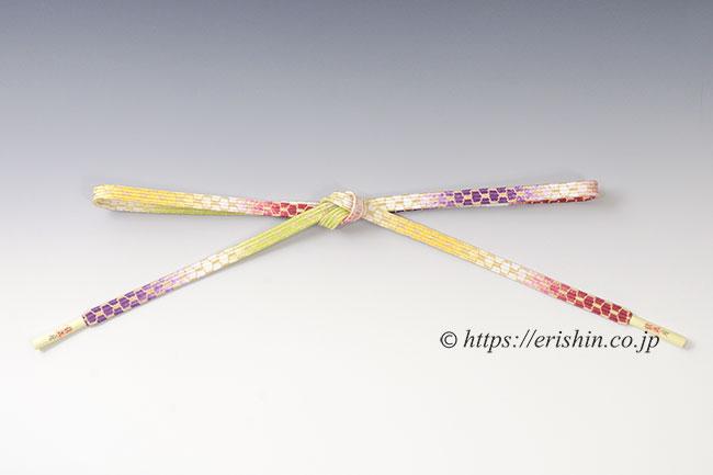 帯締め 貝ノ口亀甲組/濃紅色×葡萄色