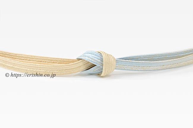 帯締め 大和高麗組・三色暈し/鳥の子色×白藍