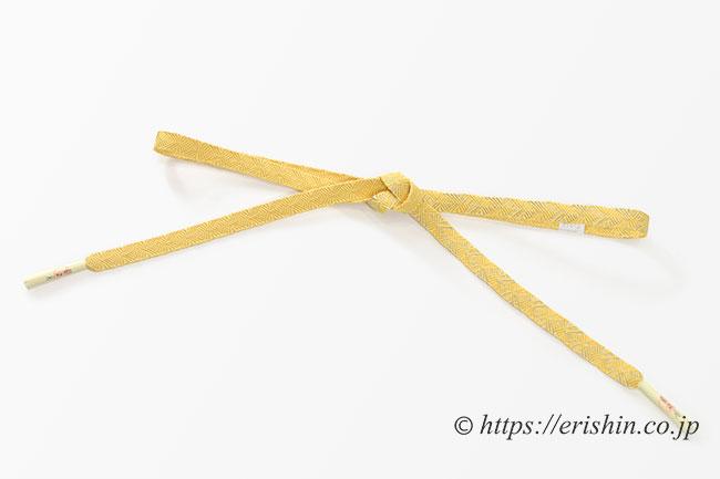 帯締め 縞菊/黄支子色