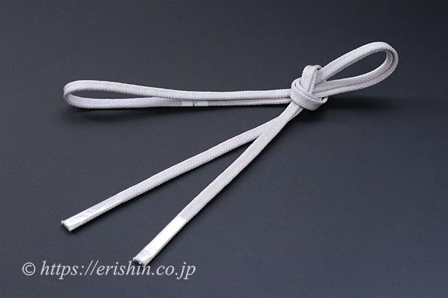 三分紐 帯締め兼用(金線散らし/白鼠色)