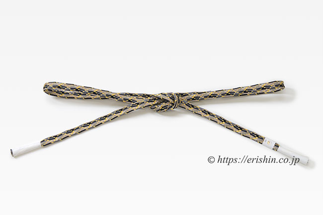 帯締め 貝の口浮舟組(白茶×黒×鼠)