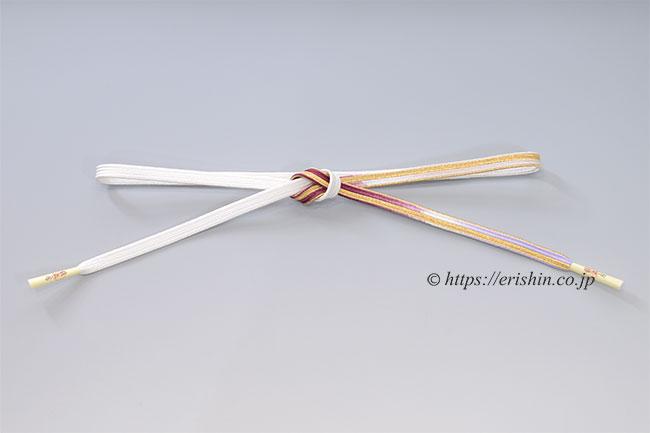 帯締め 貝の口組(紫檀色×白)