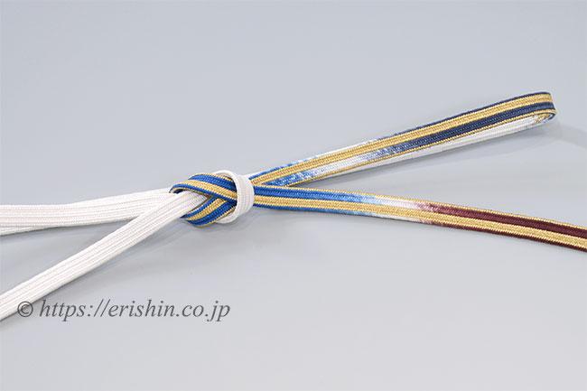 帯締め 貝の口組(瑠璃色×白)