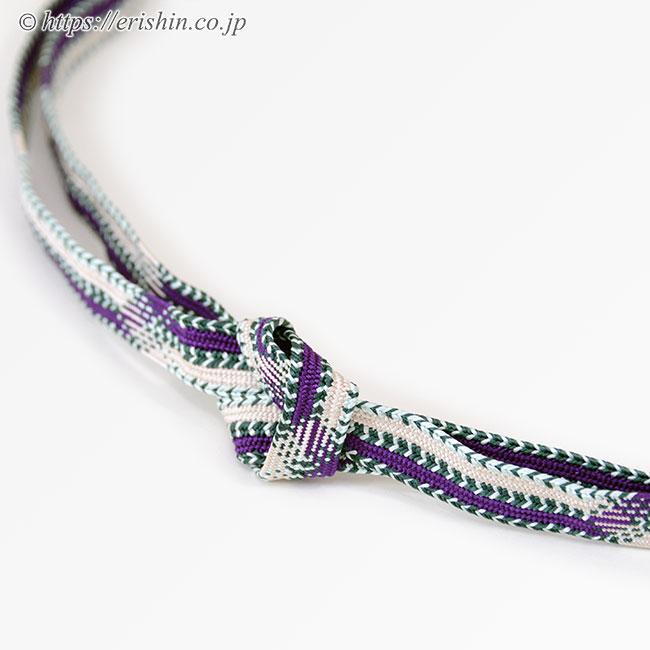 帯締め 高麗平家納経経巻組(本紫×白練)