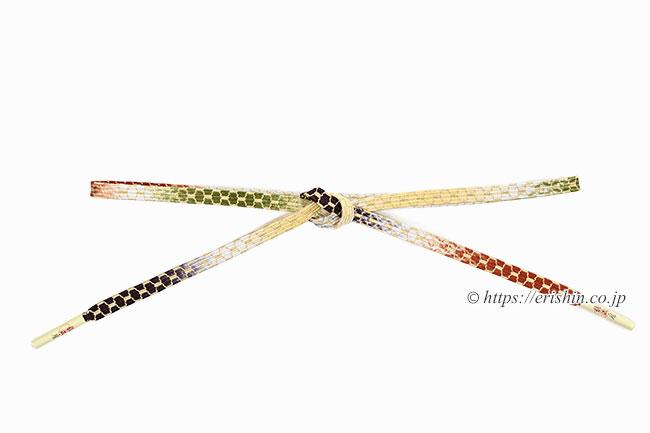 帯締め 貝の口亀甲組(黒茶色×柿茶色✕鶯色)