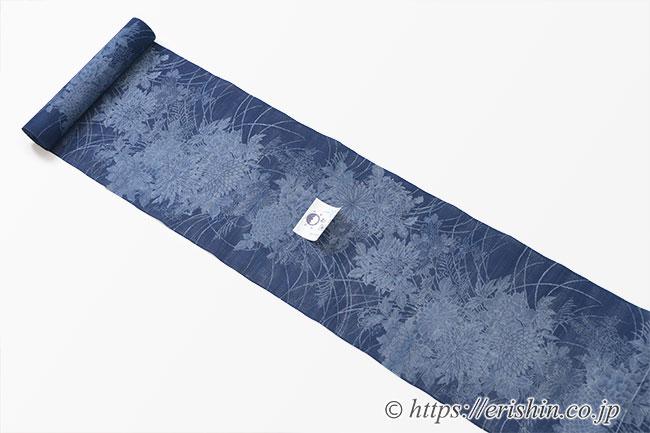 竺仙/ちくせん 絽小紋中形(本藍染錐彫り/四季花)