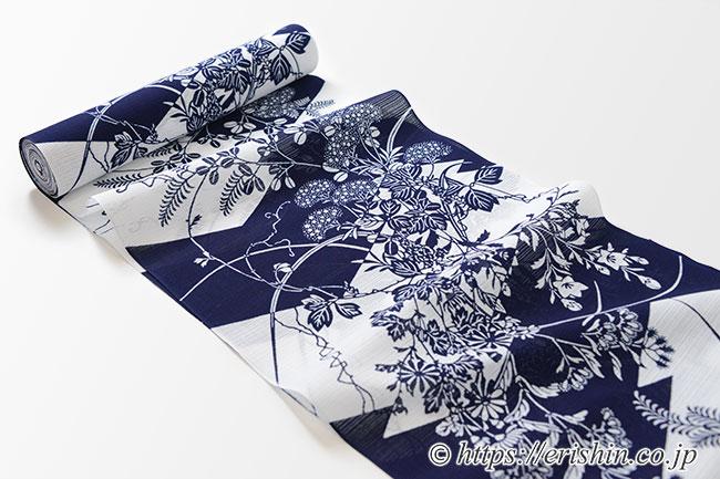 竺仙/ちくせん 綿絽白地浴衣(松皮菱取りに秋草)
