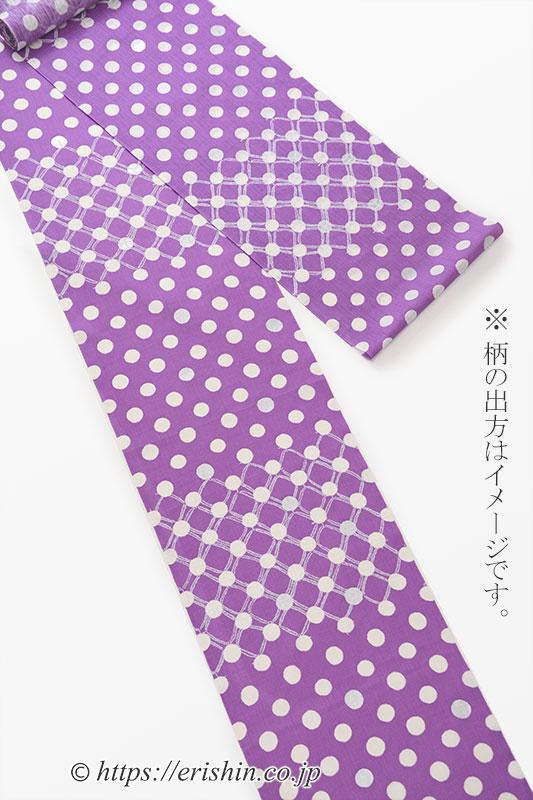 誉田屋源兵衛 浴衣(綿麻・水玉変わり市松/オーキッドローズ)広巾