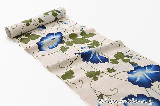 誉田屋源兵衛 浴衣(綿麻・朝顔)広巾
