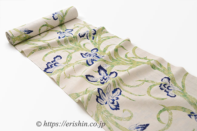 誉田屋源兵衛 浴衣(綿麻・杜若)広巾