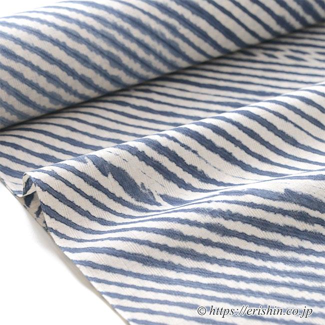 誉田屋源兵衛 浴衣(綿麻・嵐絞り藍空)広巾