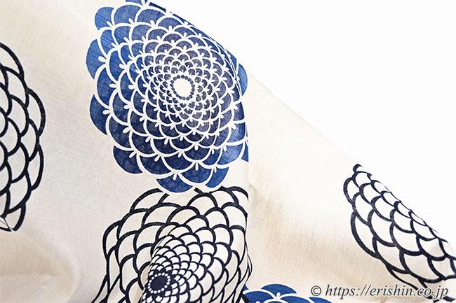 誉田屋源兵衛 浴衣(綿麻/丸菊・本藍)広巾