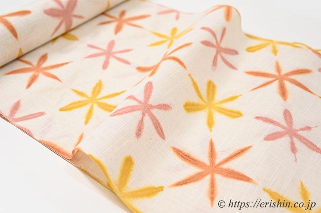 誉田屋源兵衛 浴衣(弁柄板締め絞り)広巾